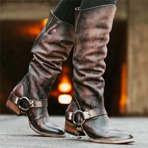 Chunky Low Heeled Round Toe Date Outdoor Knee High High Heels Boots