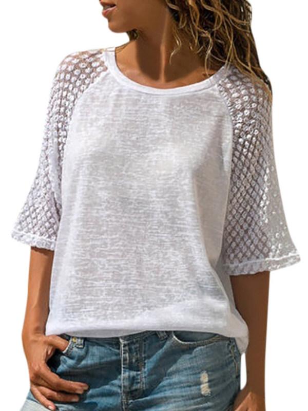 a1e8700da140b Lace Stitching Round Neck Cropped T-Shirt - Selaros.com