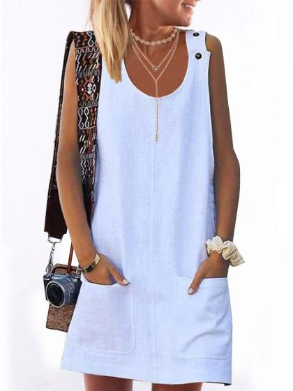 Linen Round Neck  Plain Shift Dress