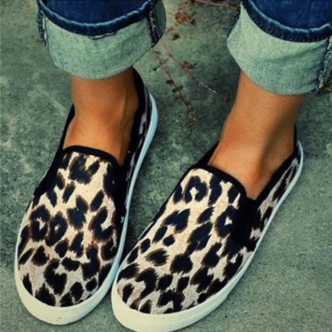 Animal Printed Flat Round Toe Casual Outdoor Sneakers
