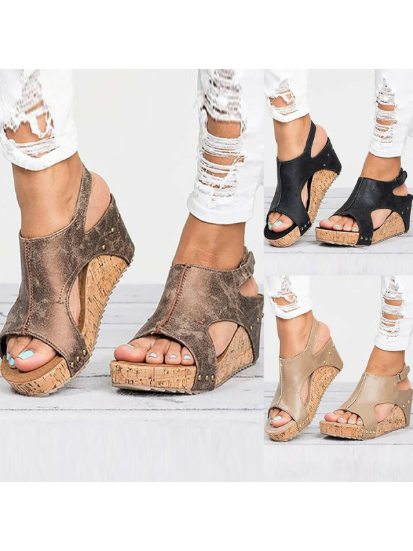 23f57d4f523c Mid Heeled Chamois Ankle Strap Peep Toe Basic Casual Wedge Sandals -  Callabuy.com