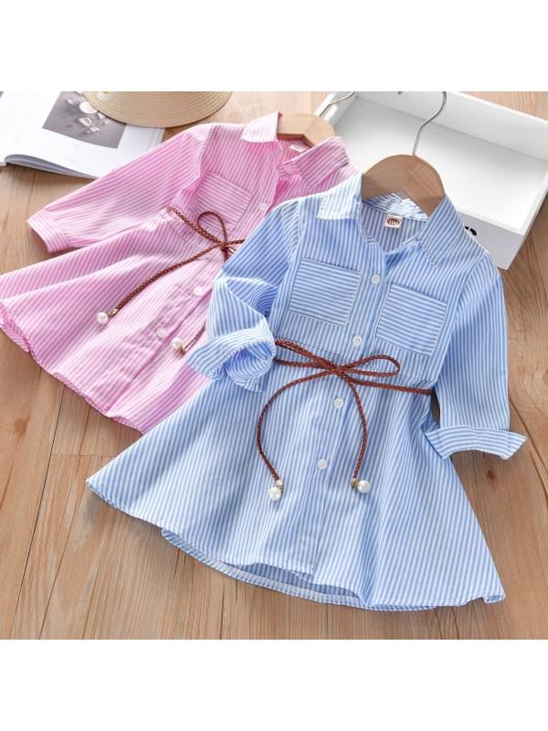 【18M-7Y】Striped Long Sleeve Shirt Dress With Belt - 3399