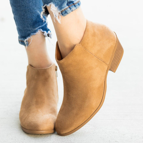 Chunky Mid Heeled Point Toe Date Outdoor Short High Heels Boots