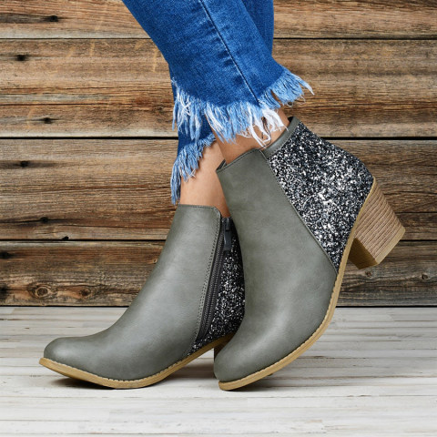 Chunky Mid Heeled Round Toe Date Outdoor Boots