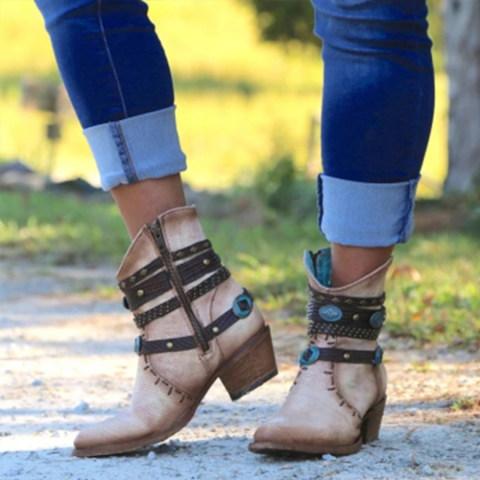 Chunky High Heeled Casual Outdoor High Heels Boots