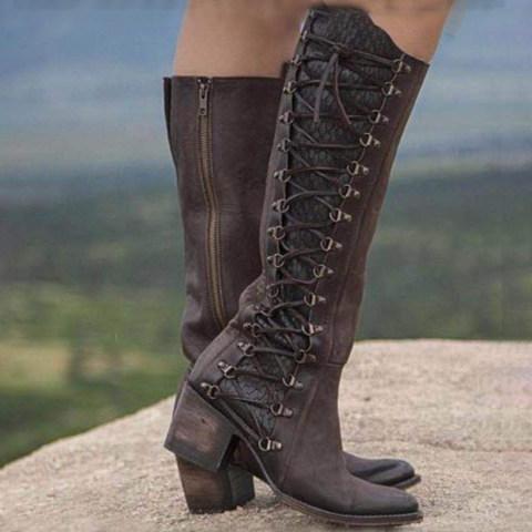Chunky High Heeled Round Toe Date Outdoor Knee High High Heels Boots