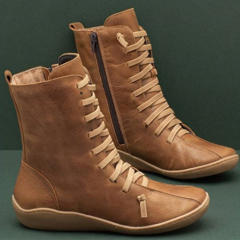 Casual Women Short Tube Plain Flat Boots
