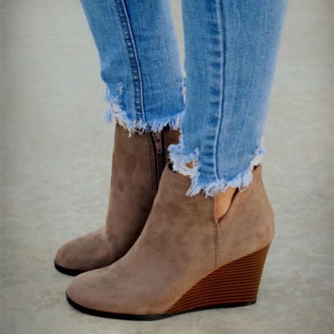 Animal Printed Plain Round Toe Boots