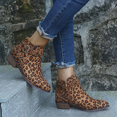 Animal Printed Plain Chunky Round Toe Boots