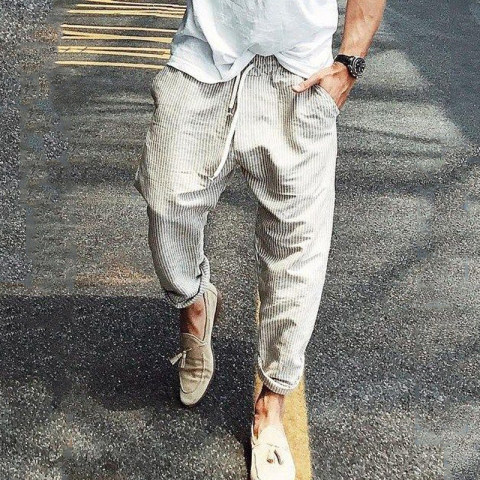 Casual mens striped straight pants
