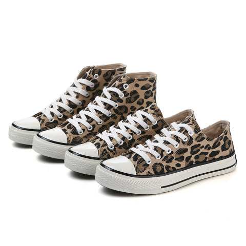 Animal Printed Flat Criss Cross Round Toe Casual Sneakers