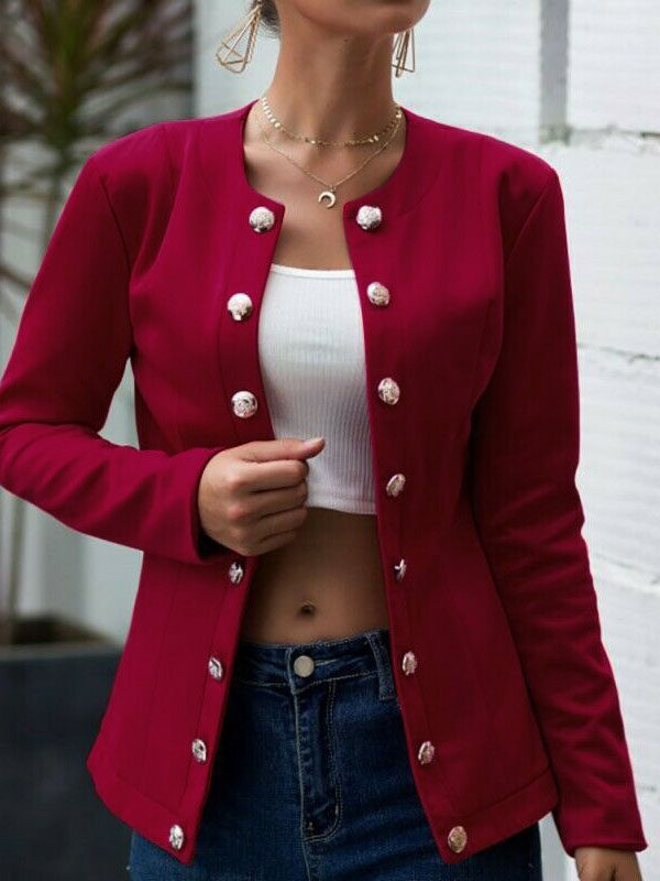 Fashion solid color double-breasted blazer