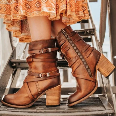 Chunky High Heeled Round Toe Date Outdoor Boots