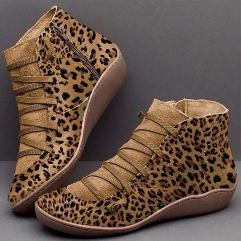 Animal Printed Round Toe Boots