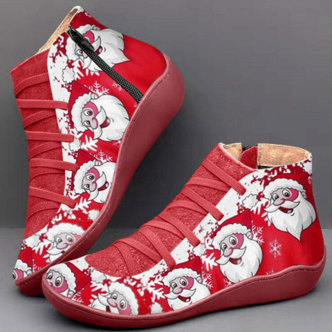 Cartoon Color Block Round Toe Boots