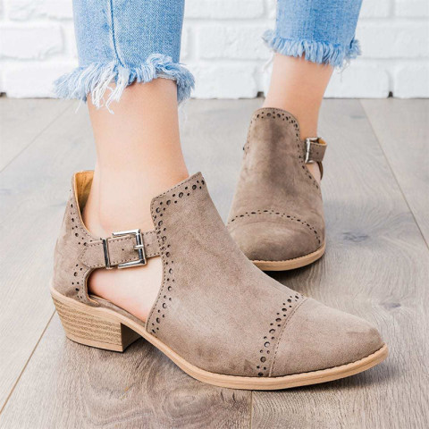Casual Women Belt Buckle Hollow Out Ankle Boots