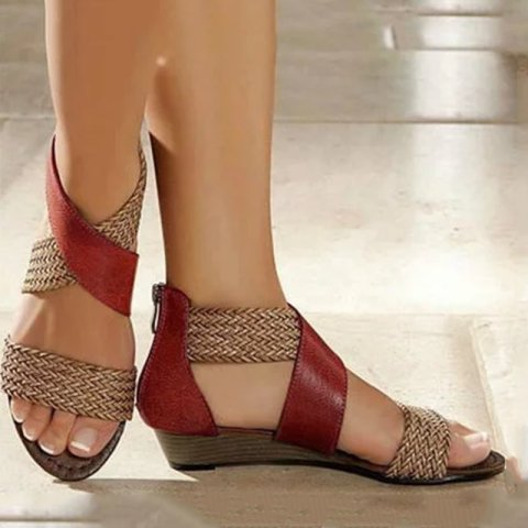 Womens Casual Colorblock Woven Sandals