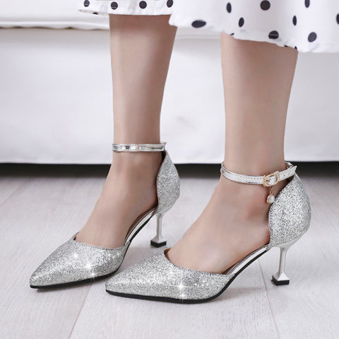 Cat with flat buckle sexy sandals sequins wild silver stiletto heels