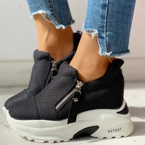 All match thick bottomed inner zipper fashion sneakers