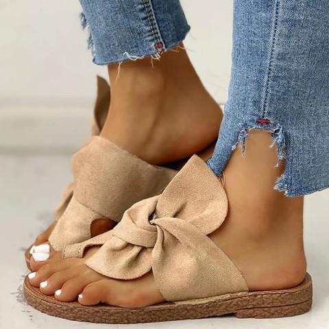 Womens flat non slip bow sandals