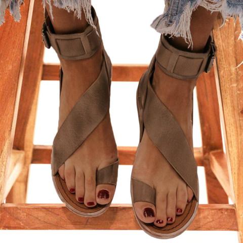 Flat high top fish mouth cutout sandals