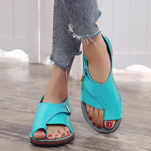 Casual comfortable fashion solid color toe flat sandals