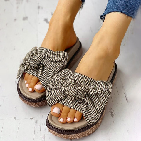 Image of Women's slippers with bow soft bottom