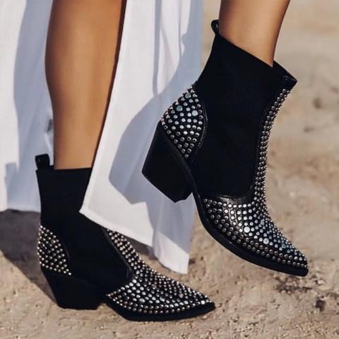 Womens fashion pointed rivet elastic boots