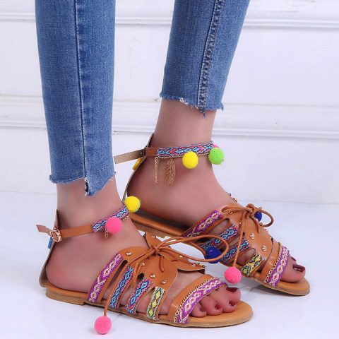 Bohemian Flat Ankle Strap Peep Toe Casual Outdoor Gladiator Sandals