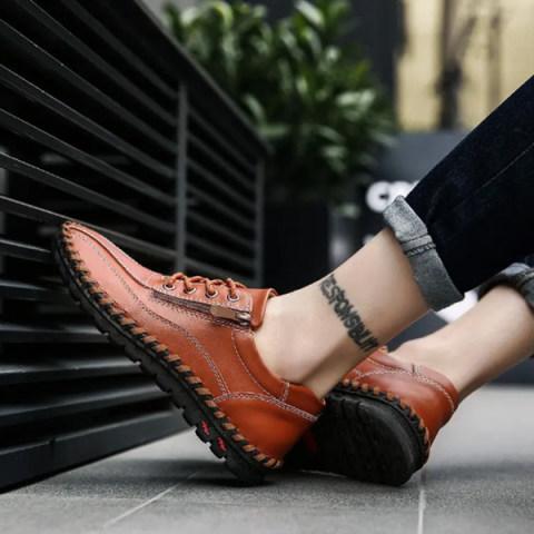 Mens Suture Comfort Flat Shoes