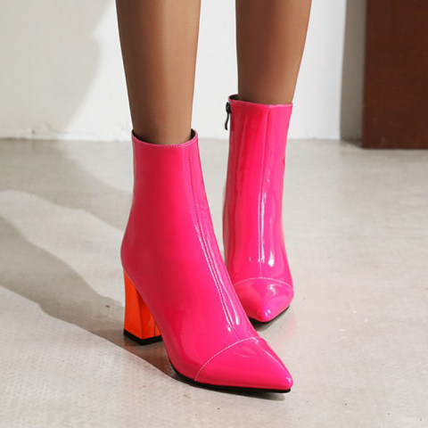 Chunky womens side zip side zipper boots