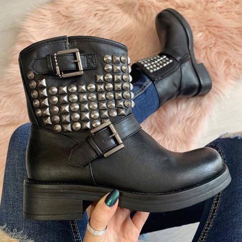 Fashion metal rivet belt buckle womens boots