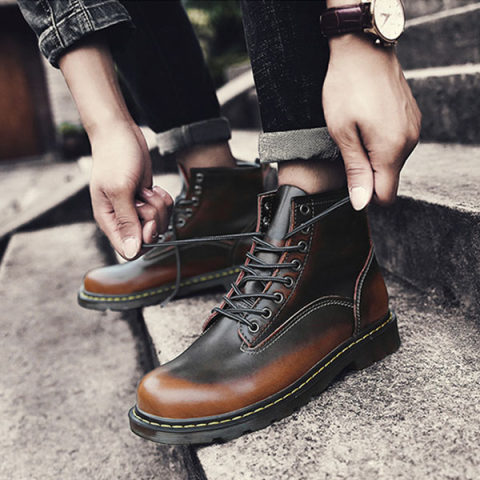 Mens British High Top Shoes Casual Martin Boots