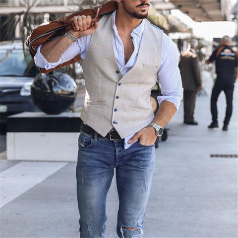 Mens fashion single breasted V neck vest