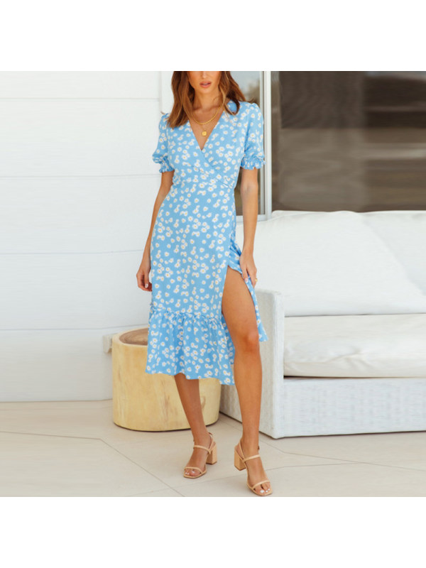 Fashion Print Short Sleeve V-Neck Ruffle Skirt Dress