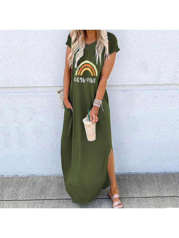 Casual Round Neck Short Sleeve Irregular Print Dress
