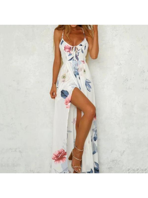 Sleeveless Backless Floor-Length V-Neck Mid Waist Women's Dress -