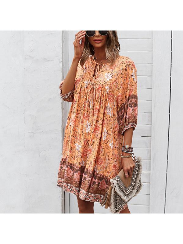 Fashionable Short Sleeve Positioning Printing Loose Dress
