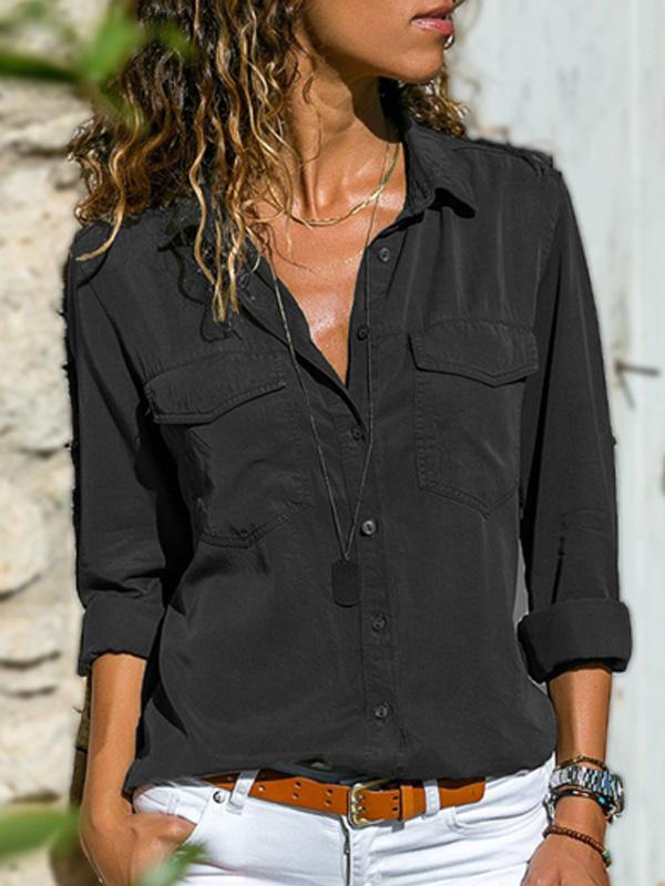 Damenmode Plus Size Solide L/ässige Leinen V Ausschnitt Knopf Bluse T Shirt Lang/ärmliges Pullover Oberteil Aus Einfarbiger Baumwolle Und Leinen Mit V Ausschnitt