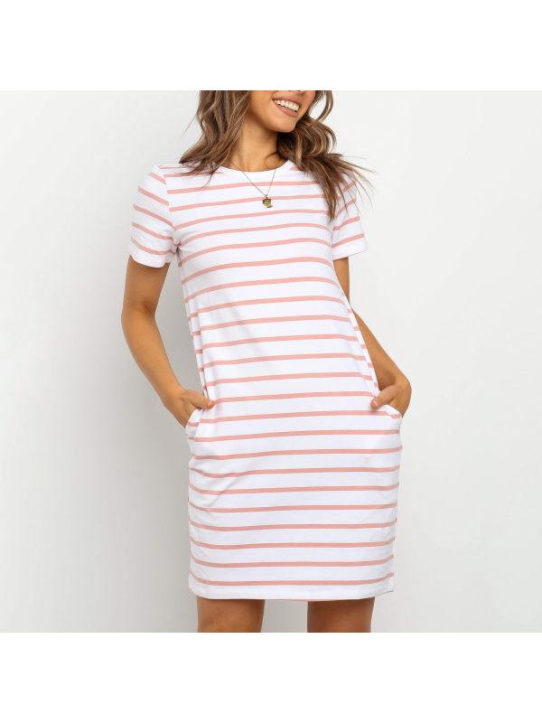 Maternity Round neck short sleeve striped dress