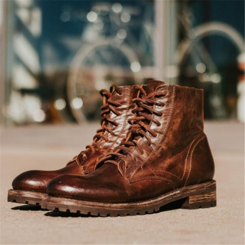 Men's Fashion Retro Square With Lace-Up Boots