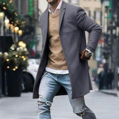 Mens trench coat mens woolen coat - $43.78