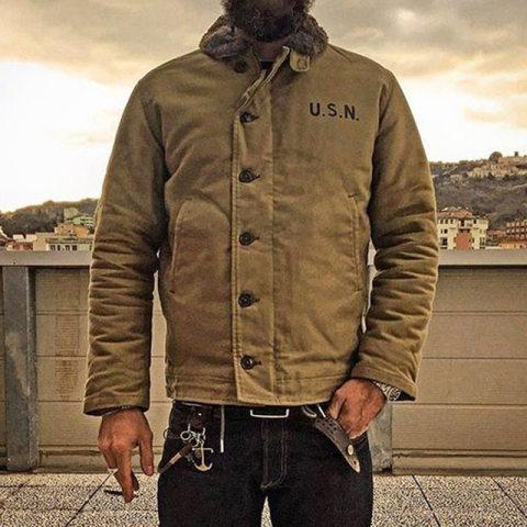 2020 Khaki N-1 Deck Jacket Vintage Usn Military Uniform For Men N1
