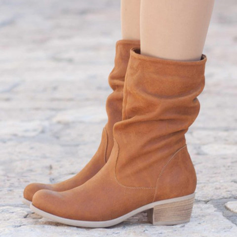 Classic contracted ladies pure color round toed mid boots