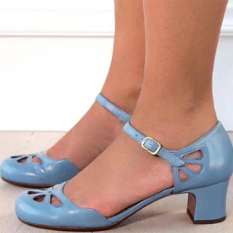 Chunky Heel Comfort Vintage Heels