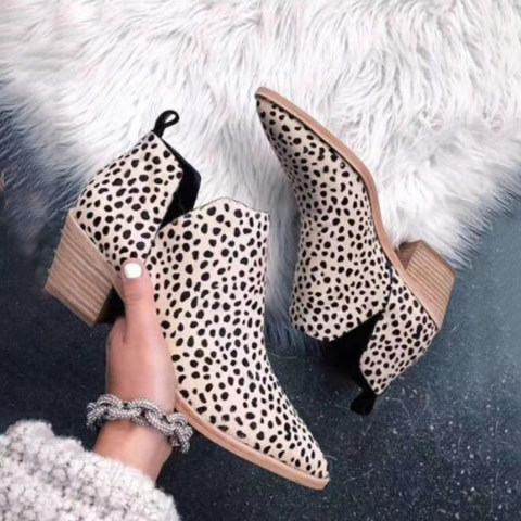 Animal Printed Chunky Point Toe Boots