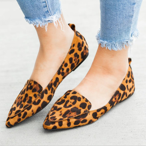Animal Printed Point Toe Date Travel Comfort Flats
