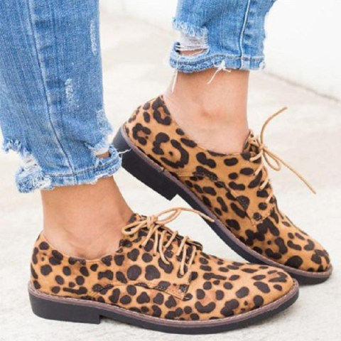 Animal Printed Flat Criss Cross Round Toe Date Outdoor Comfort Flats