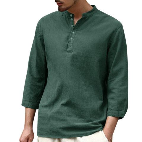 Mens fashion solid color linen T shirt