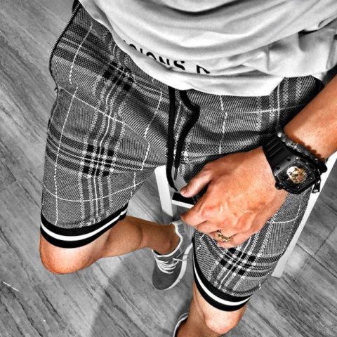 Mens fashion check printed sports casual shorts